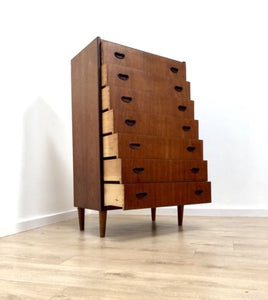 Superb Mid Century Vintage Danish Teak Tallboy Chest Of 7 Drawers 1960's