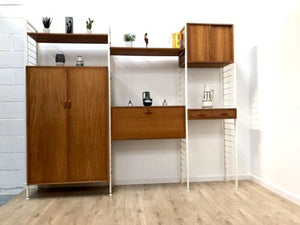 Rare Mid Century Teak Staples Ladderax Teak Shelving Wardrobe Desk Wall Unit