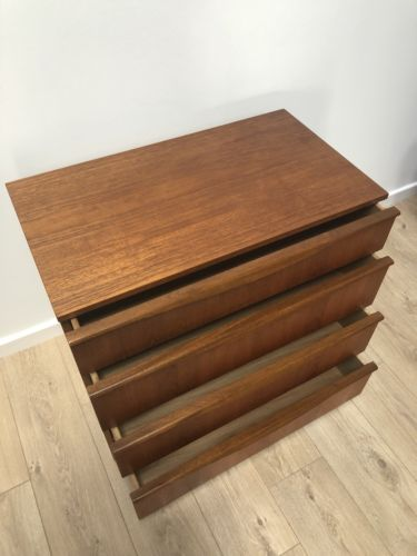 Mid Century Vintage Teak Chest Of 4 Drawers By Austinsuite 1960's