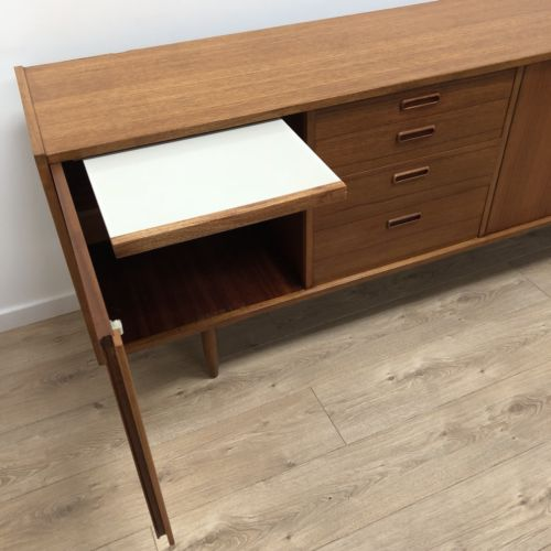 Mid CenturyDanish Vintage Teak Modernist Sideboard Credenza Drinks Cupboard