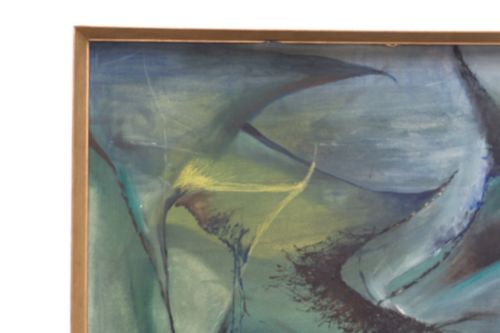 Original Mid Century Modernist Abstract Oil On Board Signed