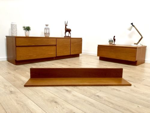Mid Century Vintage Teak Drawer TV Unit & Floating Teak Shelf Beaver And Tapley