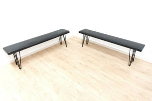 Pair Mid Century Vintage Retro Bench Seats With Black Hair Pin Legs 1960's /1286