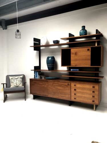 Rare Mid Century Italian Modular Teak Shelving Wall Unit With Sideboard by AMMA