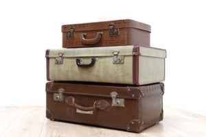 Superb Set of Vintage Luggage Suitcases Leather 1950's /493
