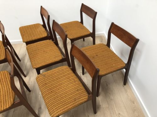 Set Of 8 Mid Century Vintage Teak McIntosh Dining Chairs 1960's