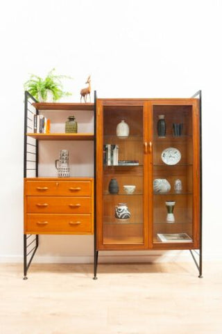 Mid Century Vintage Teak Ladderax Shelving Desk Wall Bookcase Unit /1410