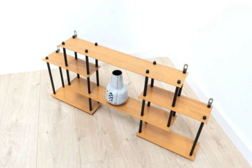 Mid Century Vintage Retro Teak Ply Black Metal Wall Shelving Display Unit /1012