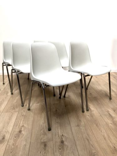 Set Of 6 Italian Modernist Grey And Chrome Stackable Dining Chairs