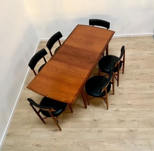 Rare G Plan Vintage Teak E Gomme Extending Dining Table & 6 Kofod Larsen Chairs