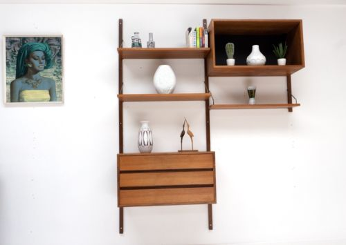 Mid Century Danish Vintage Teak Cado Drawers Display Shelving Unit