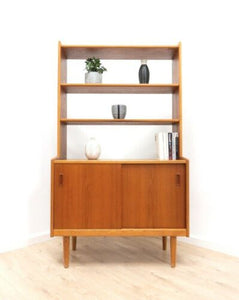 Mid Century Swedish Vintage Teak Freestanding Shelving Storage Unit /814