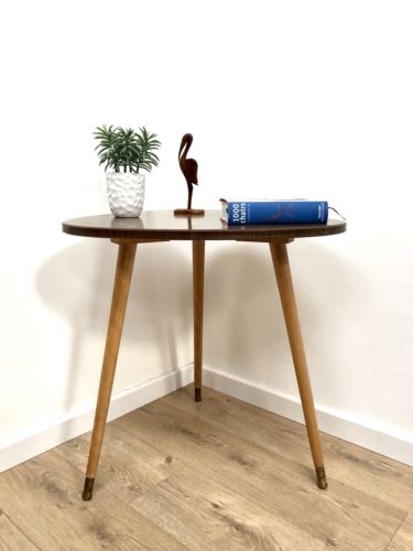 Mid Century Danish Teak Pebble Tripod Side Occasional Table 1960's
