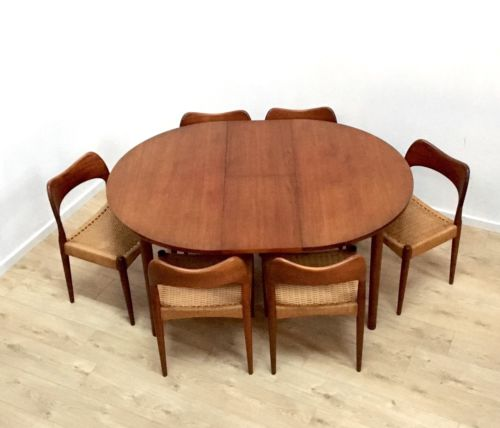 Dalescraft Vintage Teak Dining Table 6 Danish Mogens Kold Papercord Chairs