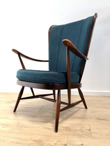 Mid Century Vintage Ercol Evergreen Windsor Armchair With Original Cushions