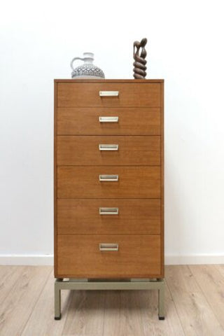 Midcentury GPlan Vintage Teak E Gomme Limba Tallboy Chest of Drawers /1494