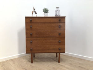 Mid Century Vintage Blonde Teak Tallboy Chest Of Drawers By Avalon