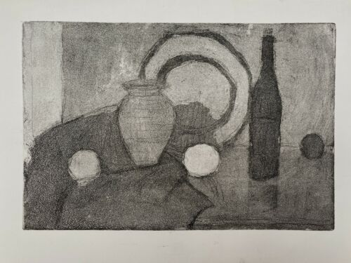 Original Mid Century Danish Vintage Charcoal Drawing Art Unframed /1380