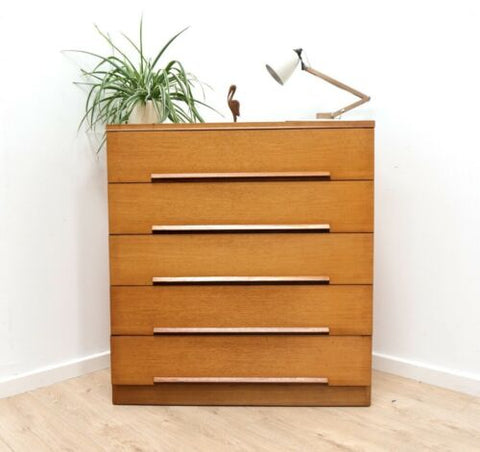 Midcentury Vintage Teak Tallboy White & Newton Chest of Drawers /1596