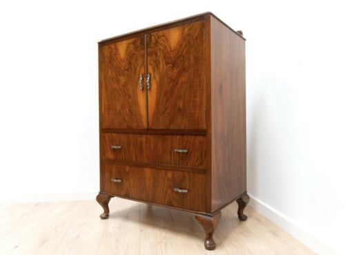 Stunning Vintage Art Deco Antique Burr Walnut Chest Of Drawers Cabinet 1273