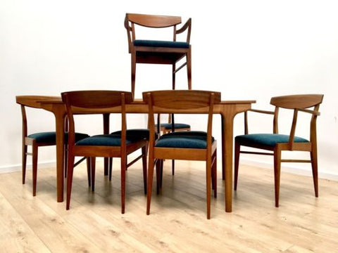 Rare McIntosh Vintage Teak Extending Dining Table And 8 Dining Chairs