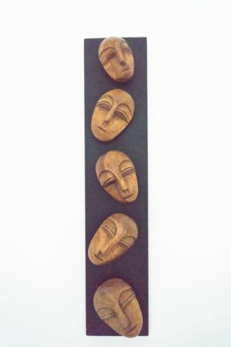 Midcentury Vintage Mixed Media Art On Board Teak Sculpture 1960's /1456