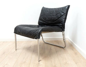 Mid Century Swedish Vintage Leather Chrome Modernist Lounge Armchair /1367