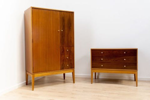 Mid Century Vintage Rosewood & Teak Uniflex Wardrobe & Chest Of Drawers