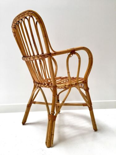 Vintage Wicker Bamboo Rattan Occasional Chair