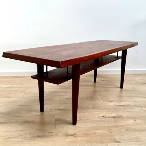Mid Century Danish Vintage Teak Coffee Table With Magazine Rack 1960's