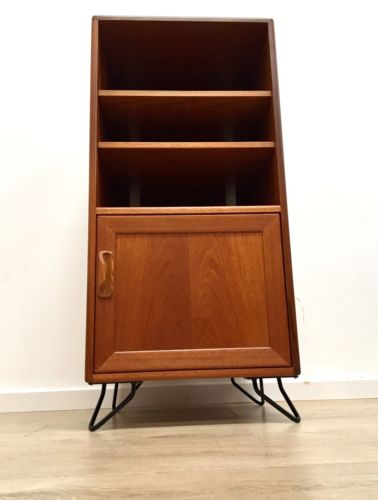 Mid Century Vintage G Plan E Gomme Teak Vinyl Record Cabinet Black Hairpin Legs