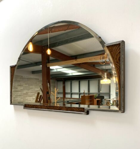 Rare Mid Century Vintage Art Deco Decorative Oak Mantel Wall Mirror 19 The Attik St Annes