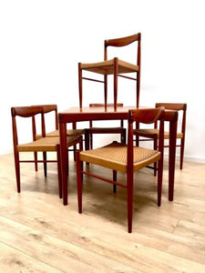 f76686c12352 Mid Century Danish Teak Dining Table 6 Paper Cord Chairs By H W Klein Bramin