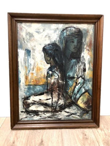 Stunning Original 20th Century Art Portrait Oil On Board Signed Robert 1960's