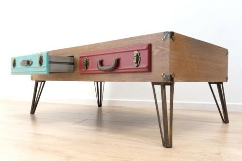 Industrial Retro Vintage Inspired Coffee Table Luggage Drawers Hairpin Legs /737