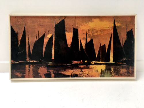 Original Vintage Retro Signed Abstract Print 'Sails At Sunset' W Rutledge 1960's