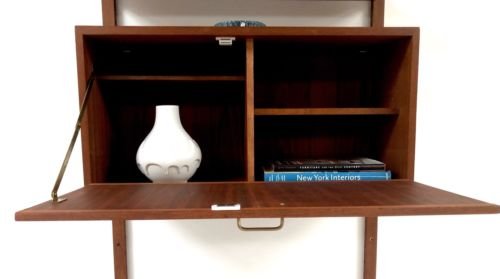 Mid Century Danish Teak Cado Wall Shelving Desk Unit Poul Cadovious For Heals