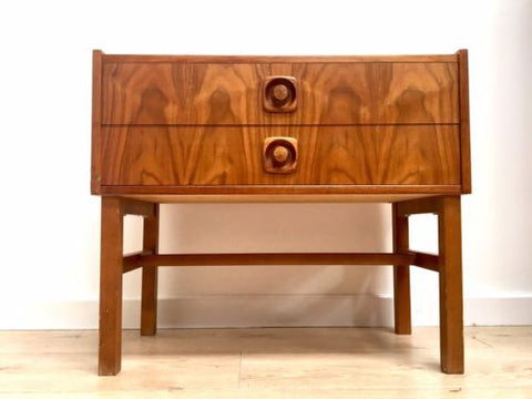 Mid Century Vintage Swedish Low Console Side Table TV Media Console Drawers