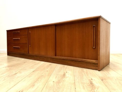 Mid Century Vintage Teak Modernist Long And Low Sideboard TV Media Unit