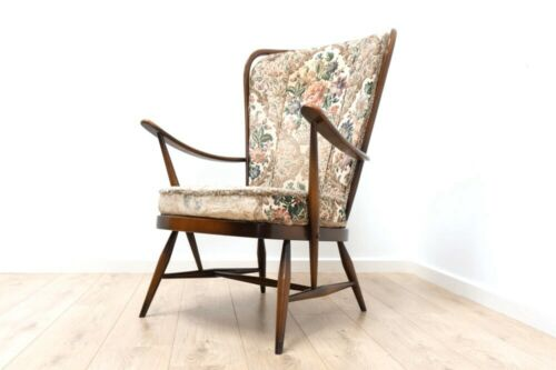 Original 1960's Mid Century Vintage Ercol Windsor Armchair With Cushions /1227