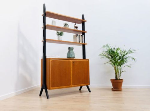 Stylish Mid Century Swedish Vintage Teak Room Divider Shelving Unit /452