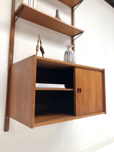 Mid Century Danish Vintage Teak Wall Shelving Storage PS System Cado Heals