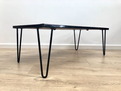 Retro Vintage Mid Century Italian Abstract Tiled Low Coffee Table Hairpin Legs