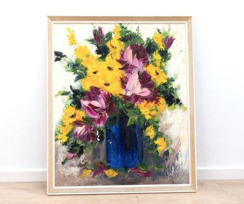 Large Original Mid Century Vintage Oil On Canvas Signed 1960's /336