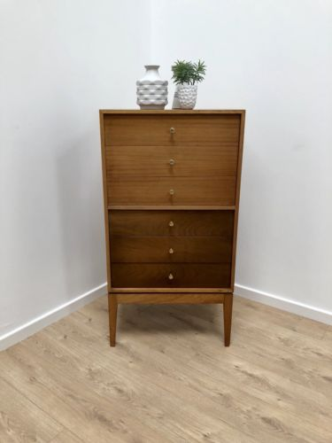 UNIFLEX TEAK TALLBOY / CHEST OF DRAWERS BY PETER HAYWOOD MID CENTURY HEALS