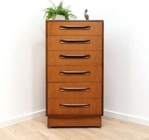 Mid Century Vintage Teak G Plan Fresco Tallboy Chest Of Drawers 1960's /1280
