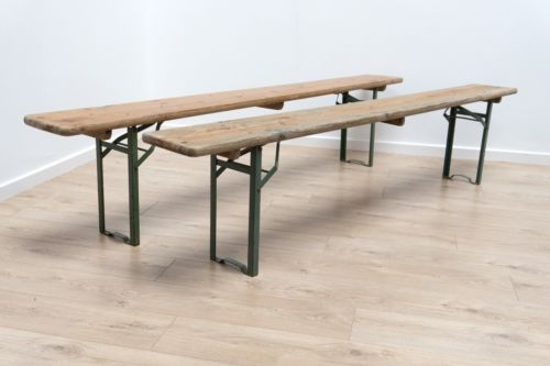 Pair Industrial Vintage Wood And Metal Foldaway Ex Army Reclaimed Benches