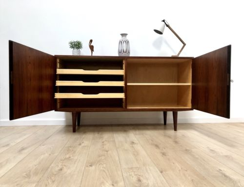 Mid Century Danish Rosewood Sideboard Cupboard By Carlo Jensen For Hundevad