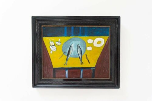 Original Mid Century Vintage Abstract Framed Dutch Acrylic Painting /1024