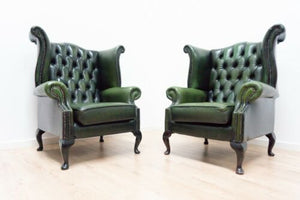 Chesterfield Green Vintage Leather High Wing Back Pair Armchairs Queen Anne 1420